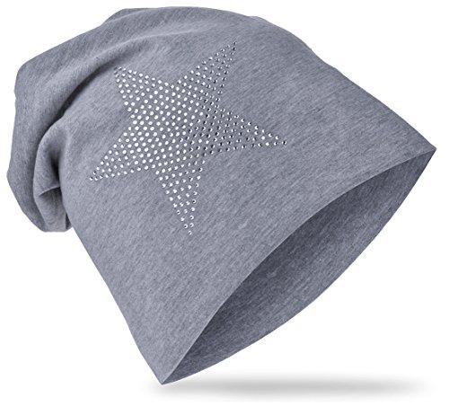 StrassStern Baby Kinder Jersey Slouch Beanie Long Mütze mit Strass Stern Unisex Baumwolle Trend StrassStern-Grau-48