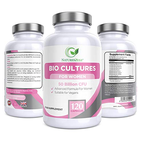 Natures Zest Womens Probiotics 50 Billion CFU Bio Cultures and Prebiotics with Cranberry Extract 120 Capsules Female Supplement with Lactobacillus Rhamnosus & Lactobacillus Reuteri, 4 Months' Supply