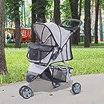 PawHut Pet Travel Stroller Cat Dog Pushchair Trolley Puppy Jogger Carrier Three Wheels (Gray) 10