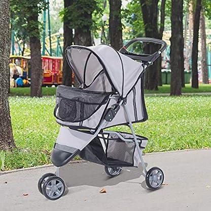 PawHut Pet Travel Stroller Cat Dog Pushchair Trolley Puppy Jogger Carrier Three Wheels (Gray) 2