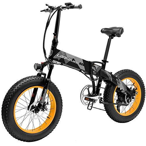 Bicicleta Eléctrica de Montaña Plegable 500W con Ruedas Anchas 20 x 4 Pulgadas Removible Bateria de Litio 48V 10,4AH Aluminio Bicicleta de Playa Nieve Todo Terreno para Adultos [EU Stock]