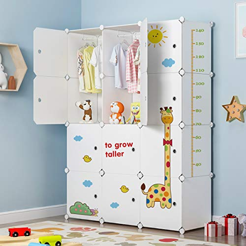 MAGINELS Portable Closet Wardrobe Dresser Cube Organizer Plastic Modular Storage for Kids with Animal Stickers, White, 12 Cubes