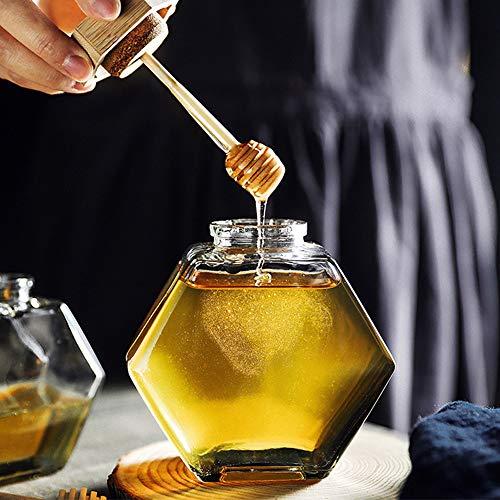 Honigspender, Sirup-Spender, Honigglas mit Holzlöffel und Korkdeckel, geeignet für Zuhause, Küche, transparent, 213 ml