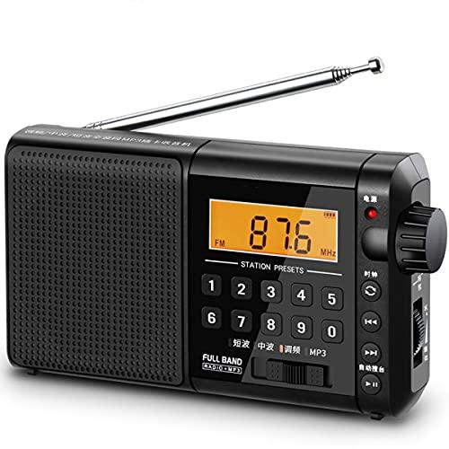 GEQWE Transistor De Radio Am FM Portátil, SW LW SSB Banda De Aire Multibanda Radio Altavoz Reloj Despertador Temporizador De Sueño Negro