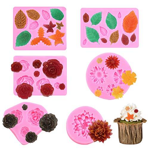GLAITC Moldes de Silicona para Tartas con Forma de Hoja, 4 moldes de Silicona para Flores y 2 moldes para Tartas con Forma de Hoja para Arcilla polimérica, Dulces, Chocolate, decoración de Tartas