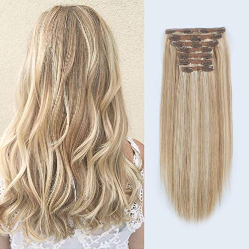 Price comparison product image Lovrio 9A Grade Virgin Remy Clip in Extensions,  Piano Color Dark Dirty Blonde Mixed with Platinum Ash Blonde P12 / 60,  Double Weft Big Thick Virgin Human Hair 18 inch 120g 7 pieces 18 clips
