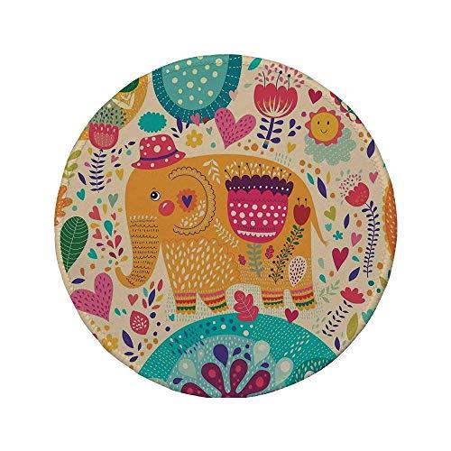 Rutschfreies Gummi-Rundmaus-Pad Elefanten-Dekor Elefant mit buntem Muster Kinderkunst Hüte Blumen Pflanzen Blätter Sommerzeit 7.9