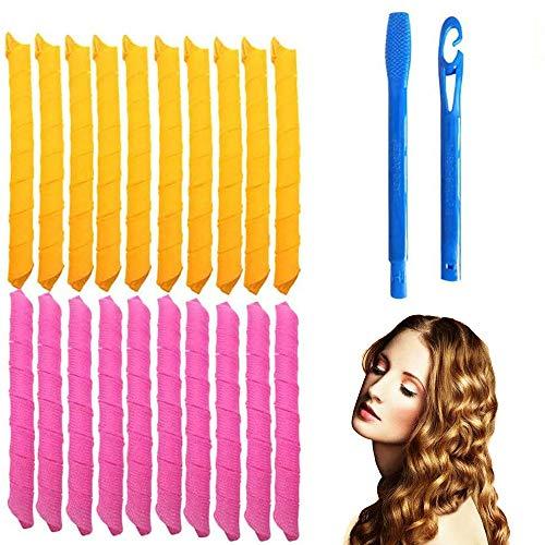 Juego de 18 rizadores de pelo mágicos en espiral y 2 ganchos de peinado, Magic Hair Curlers Spiral Curls Styling Kit, rizadores de pelo sin calor para cabello de menos de 45 cm