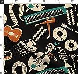 Musik, Vintage, Klavier, Ballerina, Gitarre, Noten, Schwarz