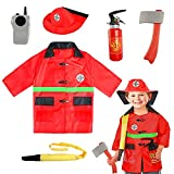 SATKULL Kids Fire Chief Costume, Halloween Fireman Dress Up Set, Fire Fighter Outfit, Pretend Role Play Firefighter Gifts