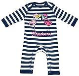 HARIZ Baby Strampler Streifen Coole Flamingos Tiere Zoo Inkl. Geschenk Karte Navy Blau/Washed Weiß 3-6 Monate