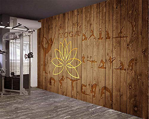 PJX Papel pintado personalizado Europeo Fitness Deportes Yoga Clubs Grainy Madera Pared Fondo Decorativo Pintura Foto 3D wallpaper300cmx210cm