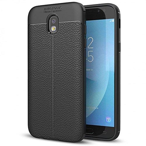 NALIA Custodia compatibile con Samsung Galaxy J7 2017, Cover Protezione Aspetto di Cuoio Ultra-Slim Case Protettiva Morbido Cellulare in Silicone Gel, Gomma Bumper Telefono Copertura Sottile - Nero