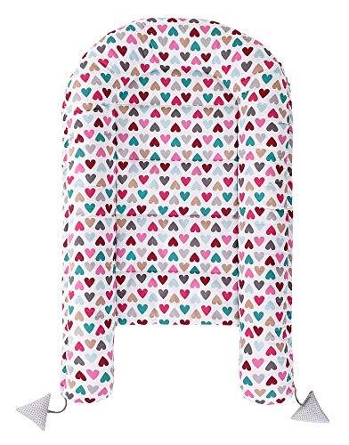 Babynest Kuschelnest Babynestchen 100% Baumwolle Nestchen Reisebett für Babys Säuglinge Medi Partners 90x50x13cm herausnehmbarer Einsatz (bunte Herzen mit grauen Minky) - 5