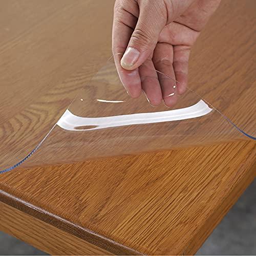 RMCF Protector De Mesa En Plástico Transparente, Protector PVC para Mesas De Cocina, Mesas De Comedor, Mantel, Mesa De Escritorio Hules para Mesas por Metros