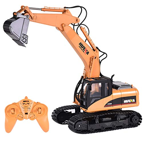 ErYao HuiNa Toys 1550 Remote Control Excavator Toy for Boys 1/14 2.4G 15CH Alloy Excavator Engineering Vehicle RC Car Rechargeable Battery Electric Construction Car, Shipped from US (Yellow)