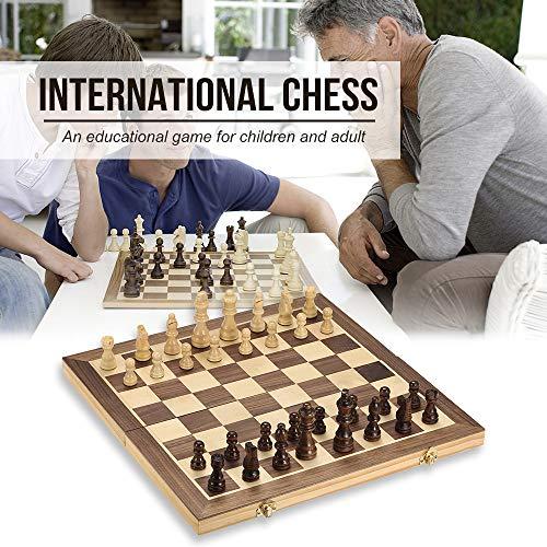 JIASHU Juego de ajedrez Profesional, Juego de Tablero de ajedrez estándar de Madera Plegable de 15.7