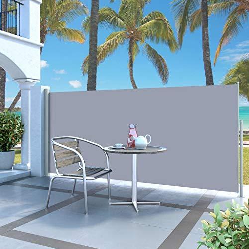 UnfadeMemory Terrassenmarkise Seitenmarkise Ausziehbar Sichtschutz Windschutz für Balkon Garten und Terrasse (140 x 300 cm, Creme)