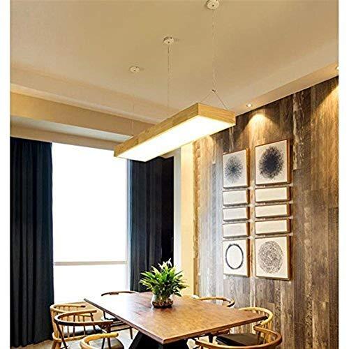 Chenbz Lámparas colgantes Lámparas de madera Soporte Tres colores sólidos de oficina simple de madera creativo Luz Investigación barra rectangular Led Techos, Medio (Color : Medium)
