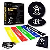 Home Workout Kit Resistance Loop Bands and Exercise Sliders Set with Bonus Jump Rope 2 Gliding Disks Core Sliders 5 Exercise Resistance Bands 1 Metal Bearings Speed Rope E-Book Included