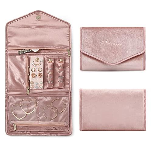 Ymhophop Organizador de joyas de terciopelo con rollo plegable para viajes, para collares, pulseras, anillos, pendientes, tobilleras, anillos de nariz, color rosa