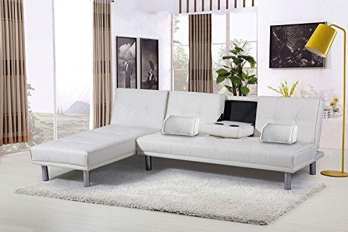 Sleep Design Manhattan - Divano letto angolare con chaise longue, in ecopelle, moderno, colori: marrone, nero, rosso, bianco