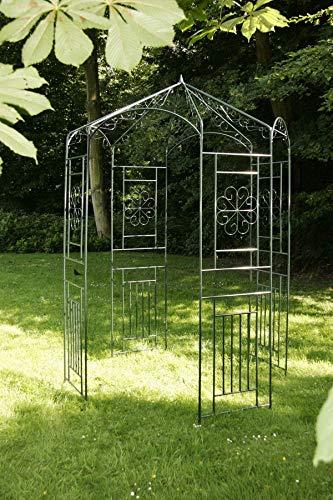 CLP Arche de Jardin Ronde avec pavillon en Fer revêtue de Poudre, Diamètre Ø 160 cm, Hauteur: 260 cm, Portillon Jardin très Stable Vert