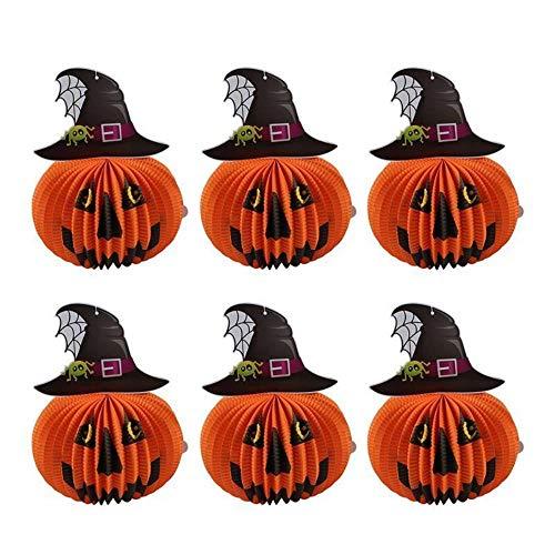 6 Stks Halloween Papier Lantaarns Driedimensionale Halloween Spookachtige Heks Hoed Pompoen Decoratie