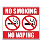 GT Graphics Express No Smoking No Vaping - 8' Vinyl Sticker - for Car Laptop I-Pad - Waterproof Decal