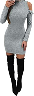 Sexy Women Dresses Winter Bodycon Off The Shoulder Long Sleeve Evening Party Mini Dress