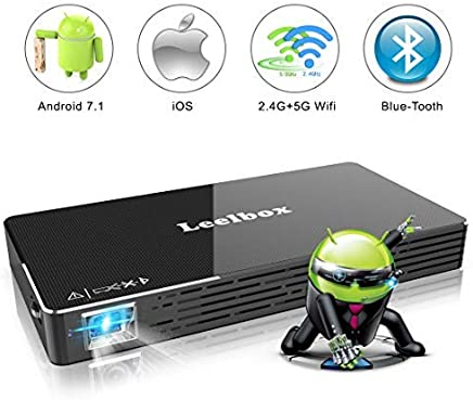 $268 Get Mini Projector, Portable Android 7.1 OS DLP Video Projector for iPhone,iPad and Laptop, Leelbox Pocket Projector Support WiFi/HDMI/BT/USB/TF Card/Audio for Home Cinema,Games, Office, Outdoor