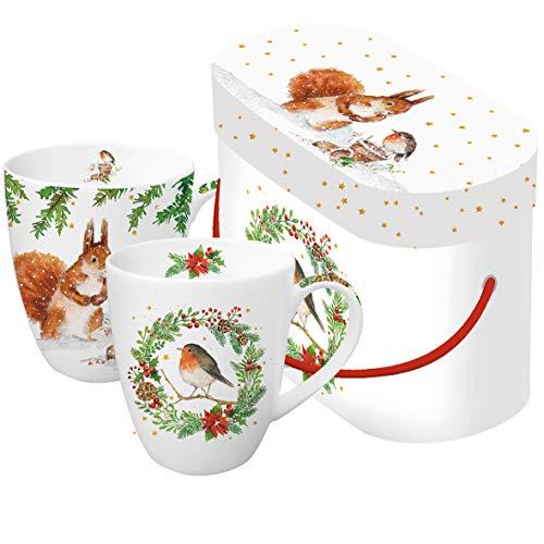 2 Kaffeebecher, Eichhörnchen + Rotkehlchen mit Geschenkbox, Waldtiere Tiere Winter