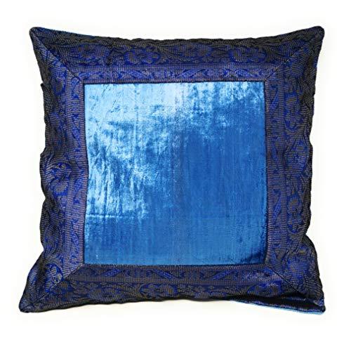 Aga\'s Own Indische Kissen 50 x 50 cm Kissenhülle Kissenbezug Orientalischer Bezug Indien (Blau)