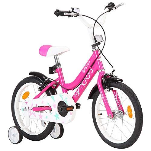 Kinderfahrrad Mädchenfahrrad Kinderrad City Bike 16 Zoll mit höhenverstellbarer Sattel und Lenker,Stützrädern,Kettenschutz,Kotflügel Geburtstagsgeschenk City Fahrrad für 4-6 Jahre Kinder Mädchen Rosa