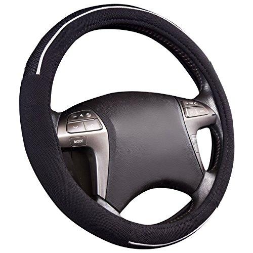 CAR PASS Universal cuero Microfibra Suave Funda para Volante Cubierta del Volante del Coche Universal Diámetro 38cm (15')