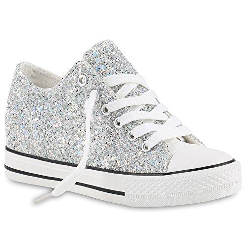 stiefelparadies Damen Sneakers Keilabsatz Sneaker-Wedges Glitzer Metallic Schuhe 139840 Silber Silber 39 Flandell