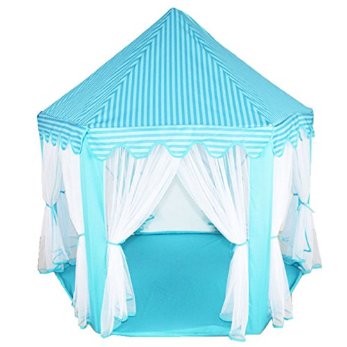 Shoze Kids Play Tent Garden Furniture Princess Castle Play House Girls Toys Fairy Hexagon Playhouse House Great Gift for Children Indoor & Outdoor Games(Blue)