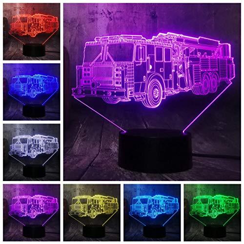 Dianer 7 Couleur Dégradé Usb Touch Control Night Light Voiture De Pompiers Voiture Acrylique 3D Led Lampe Enfant Enfants Jouet Cadeau D'Anniversaire Cadeau De Fête Garnir