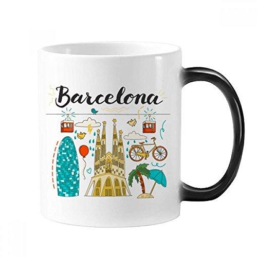 DIYthinker Barcelona, Sagrada Familia Española Morphing Sensible al Calor Taza cambiante del...