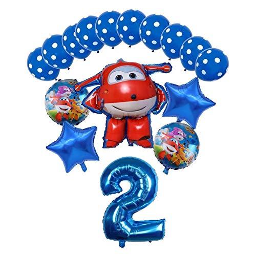 JSJJARF Globos 16pcs Super Wings Balloon Jett Globloons Super Wings Toys Fiesta de cumpleaños 32 Pulgadas Número Decoraciones Niños Juguete Globos (Color : Blue2)