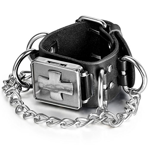 JewelryWe Herren Armbanduhr, Leder Legierung, Retro Gotik Kreuz Lederarmband Armreif Analog Quarz Uhr, Schwarz