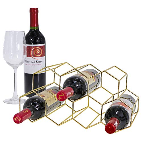 Tabletop Honeycomb Wine Rack - 9 Bottle Wine Holder for Wine Storage - No Assembly Required - Modern Black Metal Wine Rack - Wine Racks Desktop - Small Wine Rack and Wine Bottle Holder Gold