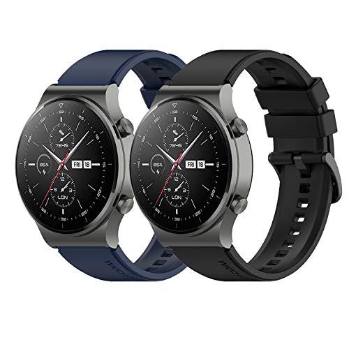Braleto 22mm Sport Correa de Silicona Correa de Repuesto Ajustable Compatible para Huawei Watch GT 2 Pro (Azul Negro)