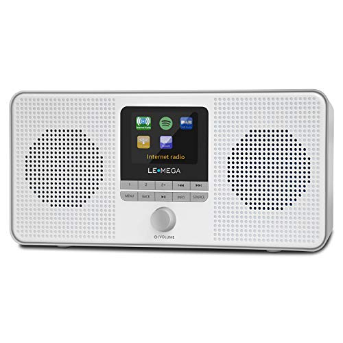 LEMEGA IR4S Portable Stereo Internet Radio,FM Digital Radio,WiFi,Spotify Connect,Bluetooth,Dual Alarms&Clock,Kitchen/Sleep/Snooze Timer,40 Pre-Sets,Headphones -Gray