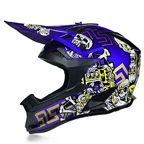 Helm Kind Motocross, Unisex DOT Kids Jeugd ATV Off-Road Dirt Bike Downhill Mountainbike Racing Stijl BMX MX bescherming Gear voor Jongens & Meisjes, gewicht 1100g (52-59cm) -LWAJ