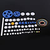 80Pcs Plastic Gears Pulley Belt Crown Gear Set Worm Kits Robot Car Motor Toy DIY Parts Assortment