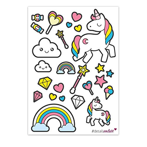 detailverliefd Super schattige stickers met eenhoorn, op A4-vel, dv_075, voor de scooter, auto, fiets, notebook, pc's, enz. Eenhoorn, sprookjes, stickers, roze, meisjes, meisjes, meisjes en school