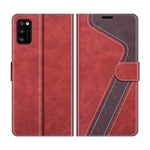 MOBESV Handyhülle für Samsung Galaxy A41 Hülle Leder, Samsung Galaxy A41 Klapphülle Handytasche Case für Samsung Galaxy A41 Handy Hüllen, Modisch Rot