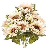 Cotemdery Künstlicher Sonnenblumenstrauß, künstlicher Sonnenblumenstrauß für Dekoration, 9 Blumenköpfe, Kunstblumenstrauß für Zuhause, Küche, Dekoration, Vintage Weiß