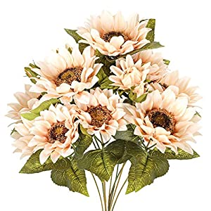 Luyue Artificial Sunflowers Bouquet Fake Vintage Sunflower Autumn Flower for Decoration,9 Floral Heads Faux Flowers Bunch for Home Decor-Vintage White